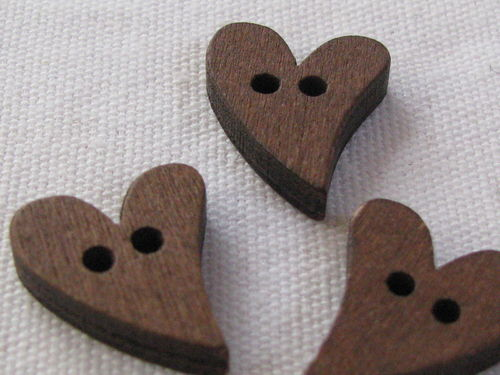 Button, wood, heart, 16x22mm, 1 pcs