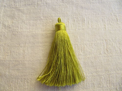 Tassel, polyester, 70mm, thick with loop, lime, 1 pcs