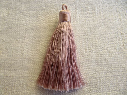 Tassel, polyester, 70mm, thick with loop, rose, 1 pcs