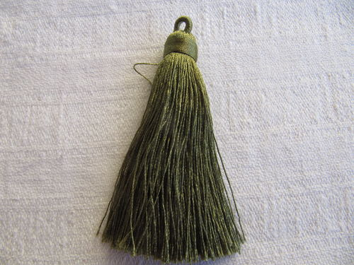 Tassel, polyester, 70mm, thick with loop, olive, 1 pcs
