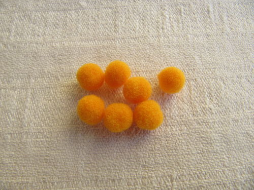 Polyester ball, 7mm, orange, 15 pcs