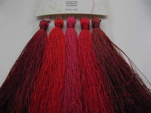Tassel packet, 90mm, reds, 5 pcs