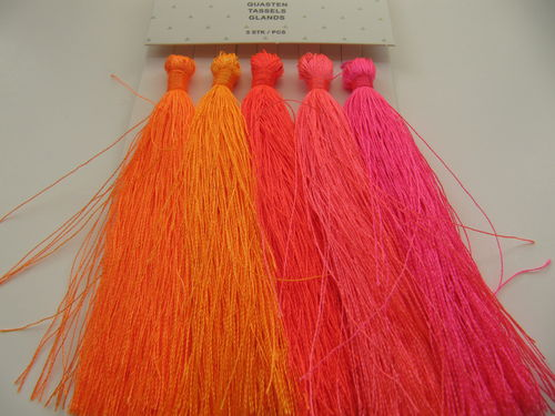 Tassel packet, 90mm, neon, 5 pcs