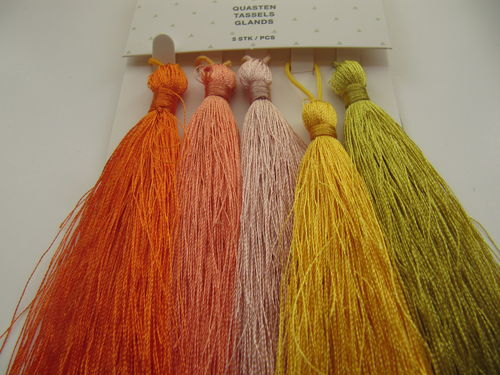 Tassel packet, 90mm, orange-yellow, 5 pcs
