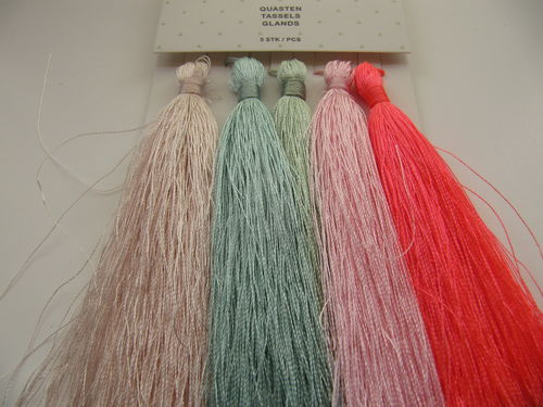 Tassel packet, 90mm, pastel, 5 pcs