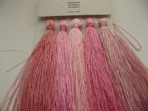 Tassel packet, 90mm, pink-rose, 5 pcs