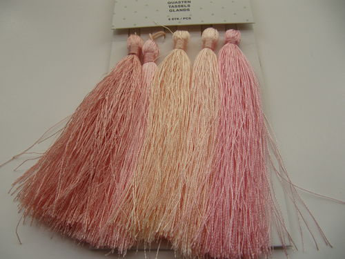 Tassel packet, 90mm, powder pink, 5 pcs