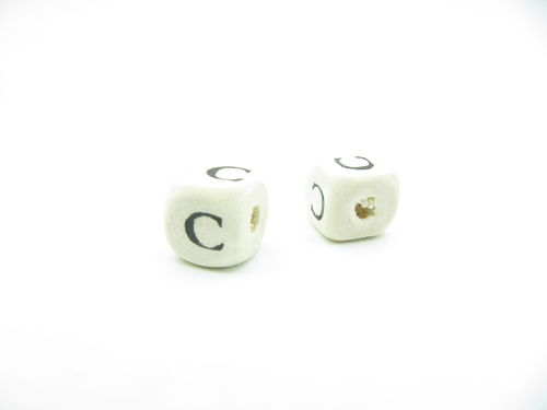 Wooden bead, cube 9x9mm, C letter, 1 pcs