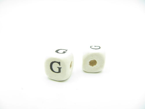 Wooden bead, cube 9x9mm, G letter, 1 pcs