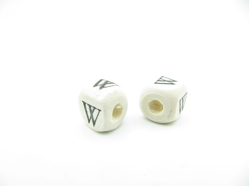 Wooden bead, cube 9x9mm, W letter, 1 pcs
