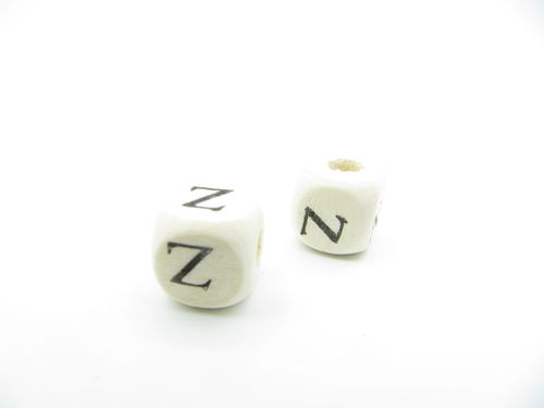 Wooden bead, cube 9x9mm, Z letter, 1 pcs
