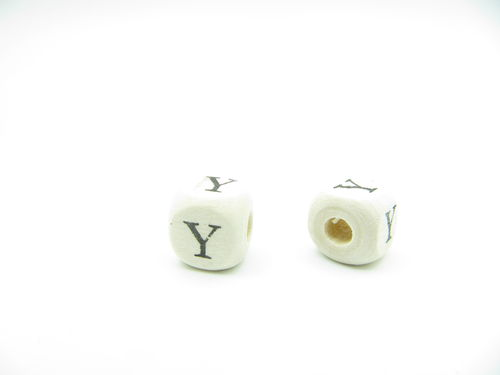 Wooden bead, cube 9x9mm, Y letter, 1 pcs