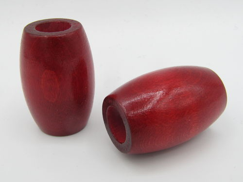 Wood, big hole, oval 22x33mm, red, 1 pcs