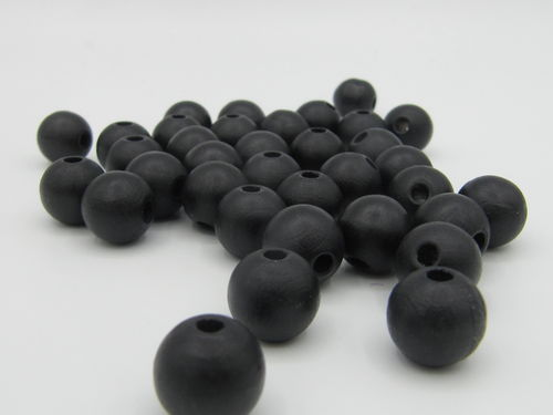 Wooden bead, matt, 10mm, black, 35 pcs