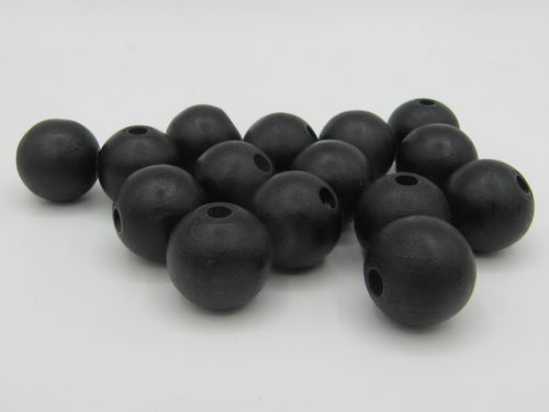 Wooden bead, matt, 15mm, black, 15 pcs