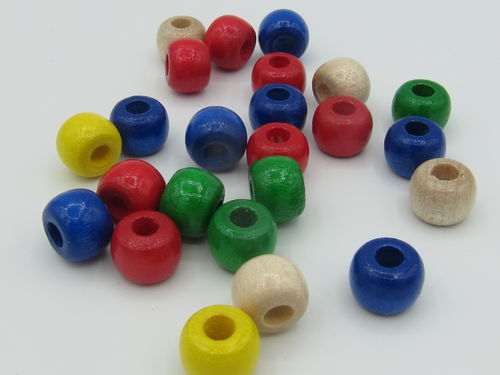 Rayher, wooden bead, big hole, 10x8mm, mix, 39 pcs